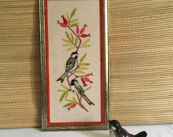 Vintage framed crewel embroidered framed birds