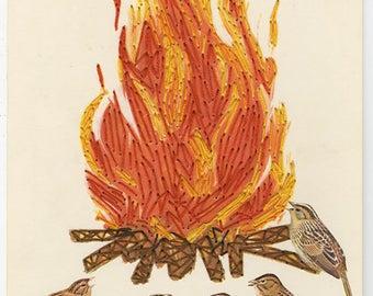 Campfire birds.  Original mixed media collage by Vivienne Strauss.