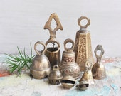 """9 Vintage Indian Brass Bell Lot - collection of small 1"""" to 3.5"""" bells - etched designs, loop handles, assorted styles - made in India"""