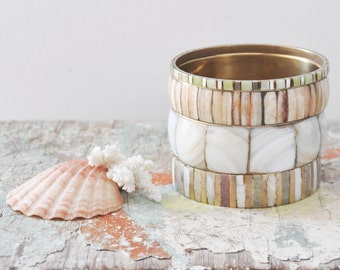 4 Vintage Inlaid Brass Stacking Bangles - bone and mother of pearl shell inlay - wide and skinny bracelets
