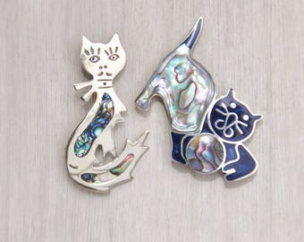 2 Vintage Cat Brooch Pin Lot - Mexican alpaca silver with inlaid abalone shell - girl with eyelashes kitty with ball