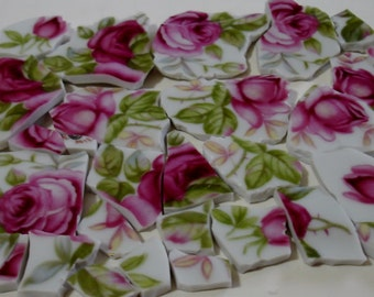 Mosaic Tiles - Rose Pink Roses - Accent Pieces of Foliage and Roses -Broken China -Tessera