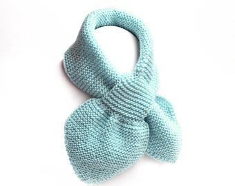 Kids Blue Pull Thru Knit Scarf. Toddler Boy Keyhole Muffler 2 to 4 Years. Child's Winter Neck Warmer Wrap. Bow Tie Loop Scarf Ascot