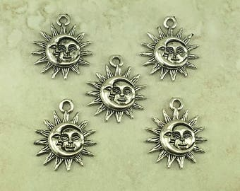 Sun & Crescent Moon Pendant Charms > Sunshine Lunar Eclipse Solar Del Sol - Raw American Made Lead Free Pewter Silver I ship internationally