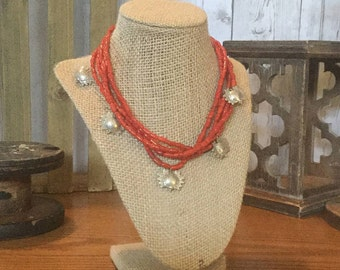 5 Strand Coral Glass Mixed With Bali Silver Crabs Necklace by Swirly Girls