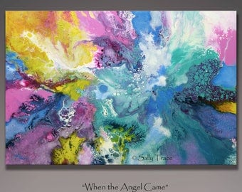 Abstract painting, original painting, acrylic painting, fluid pour painting, colorful abstract large wall art, angel painting