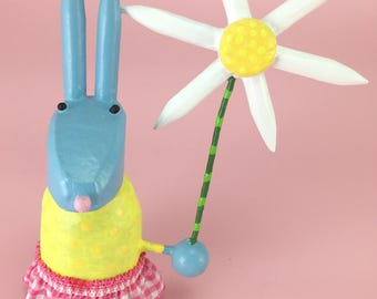 Bunny Rabbit Sculpture with Pastel Easter Dress | Easter Bunny | Spring Rabbit | Bunny Rabbit with Daisy