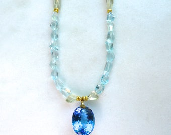 66 Carat Extra Large Swiss Blue Topaz Pendant, Prasiolite and Blue Topaz Nugget Necklace in 14kg fill...