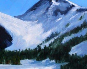 Large Northwest Landscape Painting, Mount Baker, Washington State, Glacier Oil Painting, Original 16x20, Canvas, Blue Sky, Mountain Scene