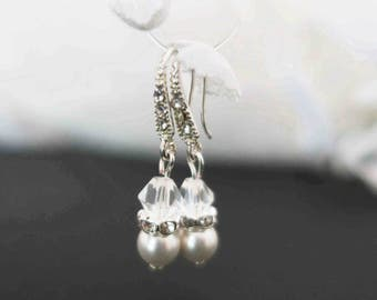 Ivory Swarovski Pearl and Crystal Bridal Earrings Brides Maid Jewelry Wedding Pearl Rhinestone Earrings Small Pearl Bridal Jewelry Set