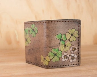Leather Trifold Wallet - Mens or Womens Wallet with Shamrocks and Four Leaf Clovers - Lucky Pattern - Third Anniversary Gift