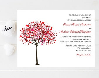 Whimsical Tree Wedding Invitation - Heart Wedding Invitations - Wedding Invitations - Whimsical Wedding Invites - Wedding Invites - Weddings