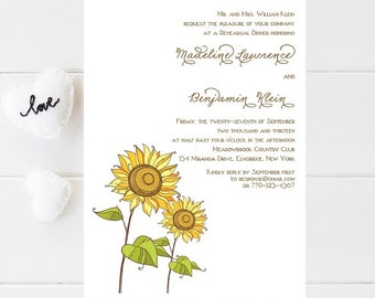 10 Sunflower Rehearsal Dinner Invitations - Sunflower Rehersal Invitation - Wedding Rehearsal Dinner Invitation - Rehersal Dinner Invitation