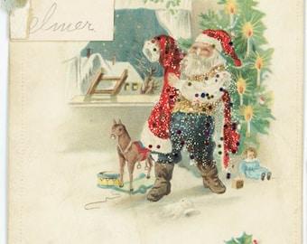 vintage Santa Claus Christmas Xmas Toys Tree Glitter Antique Christmas Postcard Vintage Xmas Card Saint Nicholas