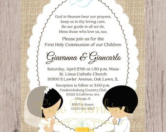 PRINTABLE First Holy Communion Invitation for Siblings, Twins, Cousins / Choose Hair & Skin Color and Boy or Girl / Burlap / You Print HC17