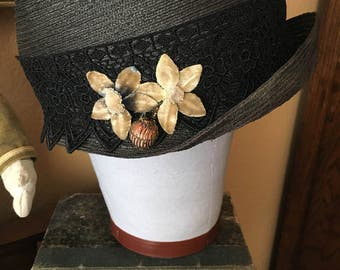 Revived 1920s straw cloche hat with antique silk velvet flowers and metal work bead