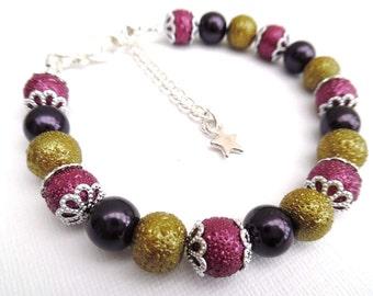 Plum and Olive Bracelet, Star Charm Bracelet, Bridesmaids Jewelry Gift, Autumn Wedding, Simple Bracelet, Plum Wedding, Mother Of The Bride