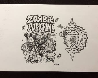 Brain Belt Zombie Pub Crawl beer can original art