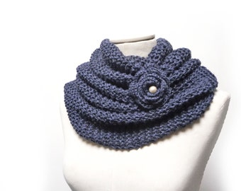 Infinity Scarf / Chunky Knit Scarf / Knitted Shawl / Loop Scarf / Cowl Scarf - Navy Blue wool and linen yarn with flower button