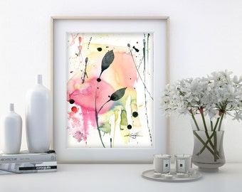 """Abstract leaf Watercolor Painting, Minimalist floral art, plant, nature, blooms, """"Organic Abstract 115"""" by Kathy Morton Stanion EBSQ"""
