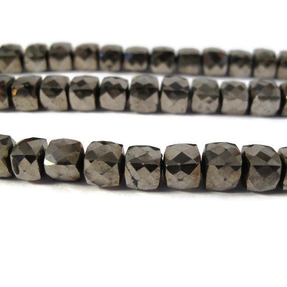 10 Pyrite Cubes, Ten Golden Bronze Faceted Natural Pyrite Beads, 6mm x 6mm Square Beads for Making Jewelry, Fool's Gold Beads (L-Py3a)