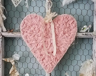 Heart, Pink Heart, Romantic Heart, Shabby Chic, Wedding Decor, Brides Chair Sign, Flower Girl, Ring Pillow Alternative, Nursery Decor