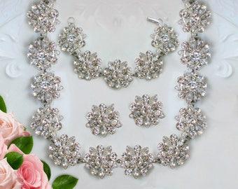 Bridal Jewelry Set,  Wedding Jewelry set,  Crystal Silver, Matching Jewelry set, Crystal jewelry Set, Bridal statement wedding statement set