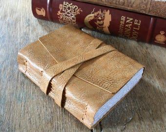 Leather Journal . Pablo Neruda's Love Sonnet XVII . handmade handbound . tan with dark veining (320 pgs)