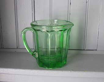 Green Depression Glass Ribbed Wide Mouth Pitcher Vasoline
