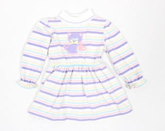 1980's Little Girl's Kitty Cat Dress by Health Tex in 3T . Pastel Stripes . Frilly Collar . Soft Kitty . Long Sleeves  80s 90s 1990s Toddler