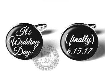 Personalized Cufflinks, Wedding Cufflinks, Grooms Gift, Fiance Gift, Grooms Cufflinks, Wedding Day Cufflinks, Custom Cufflinks, Anniversary