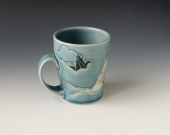 Origami Clay Mug - blue porcelain ceramic cup with cranes and clouds - wheel thrown handmade pottery