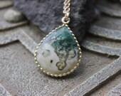 Solar quartz framed  Pendant, Designer focal stone briolette, forest green gemstone, metalwork, healing gemstone