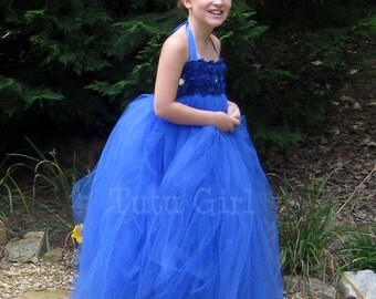 Flower Girl Dress Royal Blue tutu dress baby toddler Sapphire wedding dress, Cobalt blue tutu dress, Girls Tulle Royal Blue Dress
