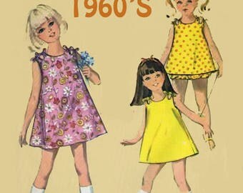 Vintage 1960s Toddler Girls Shoulder Tied A Line Dress with Panties Sewing Pattern Simplicity 6990 Mod 60s Jiffy Sewing Pattern Size 2