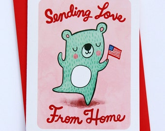 Sending Love from Home Bear - deployment card military card miss you care package card long distance military greeting card military deploy