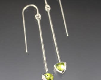 Drop earrings - 6mm trillion shaped peridot dangle earrings - sterling silver - READY TO SHIP