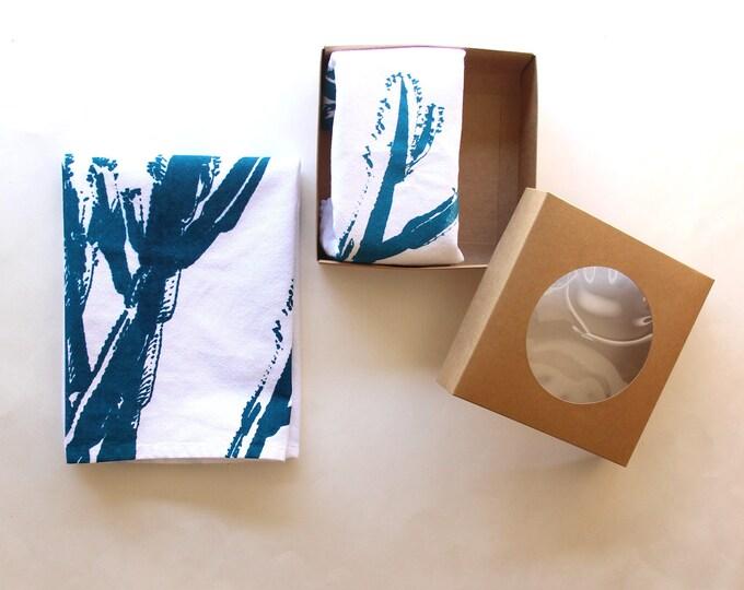 Teal & White Cactus Cloth Napkin Set