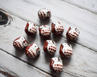 Brown Ceramic Owl Beads - Cute Nature Beads- Owl Bird Painted Bead - Owl Jewelry Supply- pack of 10