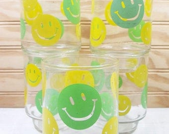 5 Vintage Smiley Face Drinking Glasses Set Happy Libbey Glass Lot 1970s Retro Yellow Green