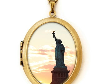 Statue of Liberty Silhouette - Photo Locket - NYC Photo Locket Necklace