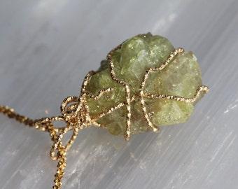 Vesuvianite Crystal Druzy Gold Wrap Pendant