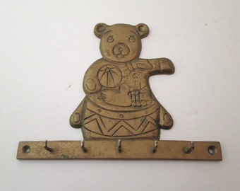 Brass Key Rack, Vintage, Key Holder, Teddy Bear Decor, Key Hanger, decorative wall hook, nursery decor, key holder for wall, brass hook
