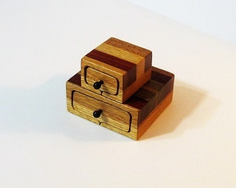 Pair Of Trinket Boxes Made Of  Five Woods