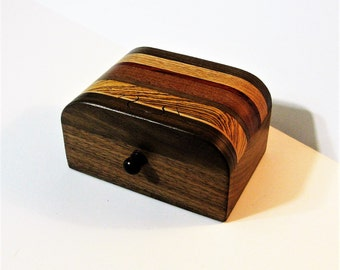 Puzzle Treasure Box With A Secret Drawer Made Of Six Woods