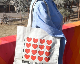 80s vintage tote bag GENERAL HOSPITAL i love hearts soap opera tv television 70s wtf