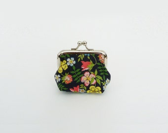Coin purse, floral, black and multi colour Liberty cotton fabric, cotton purse