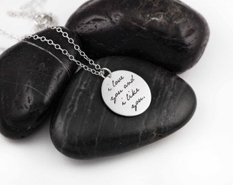 I Love You And I Like You. Parks and Recreation. Leslie Knope. Ben Wyatt. Gifts for Her. Love Quotes. Silver. Necklace. Valentines Day.