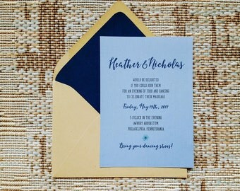 Bluebell Invitations, Wedding Invitations, Calligraphy Script, Custom Invites, Etsy Weddings, Rustic wedding invites, kraft paper