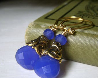 Cobalt Blue Earrings, Vermeil Gold Earrings, Chalcedony Gemstone Briolette Dangle, Dark Blue Gemstone, Cobalt Royal Blue Earrings